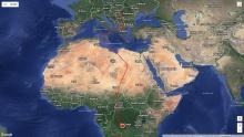 Márton eddig megtett útja (forrás: www.satellitetracking.eu).